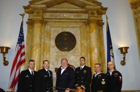 Sen. Clark and Navy Soldiers (03-05-09)